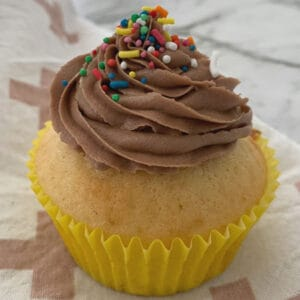 Chocolate Butter Cream Icing on a cupcake side view