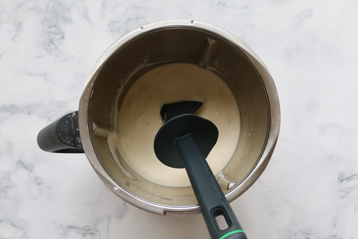 Sourdough mixture in a Thermomix bowl.