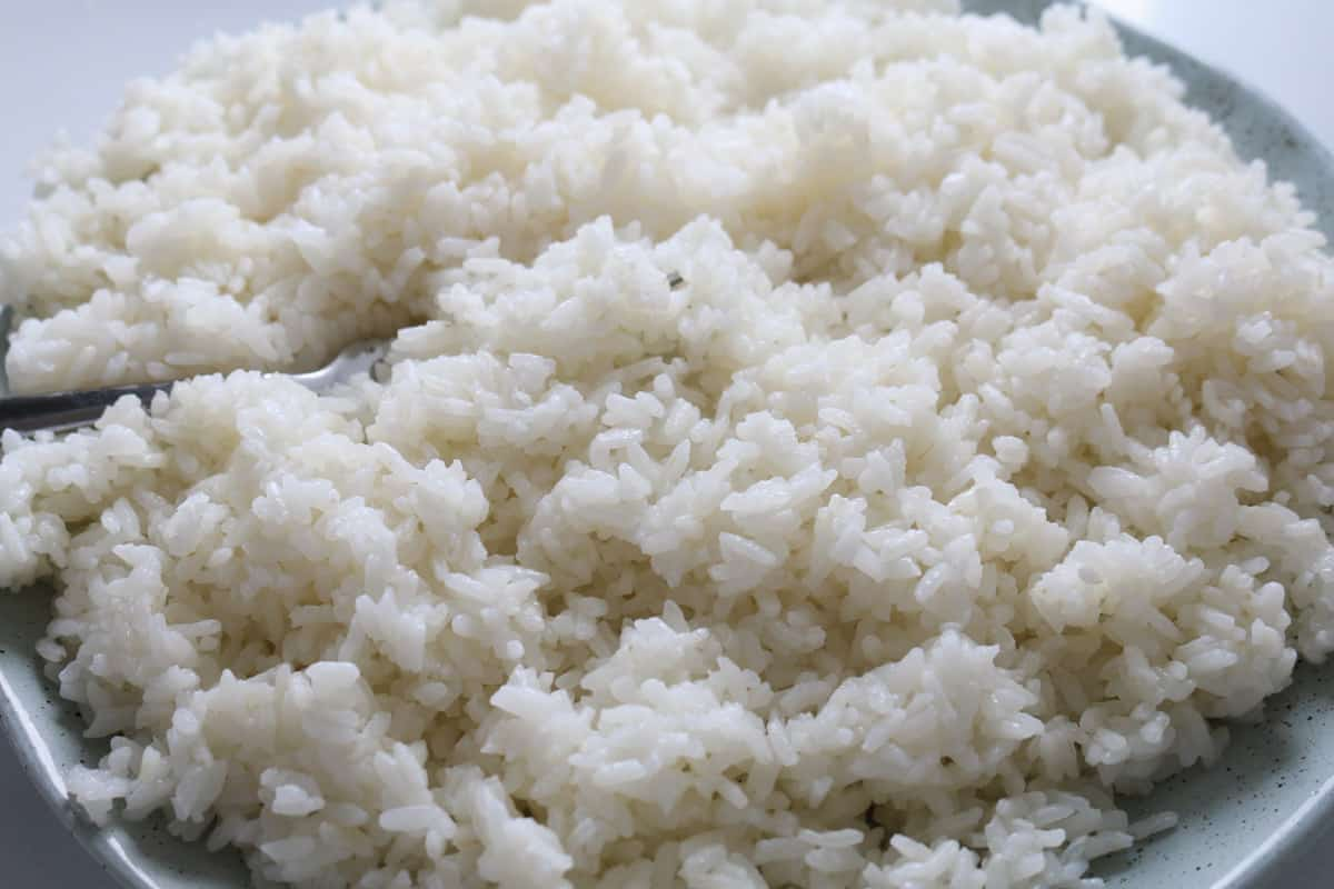 White sushi rice on a plate.