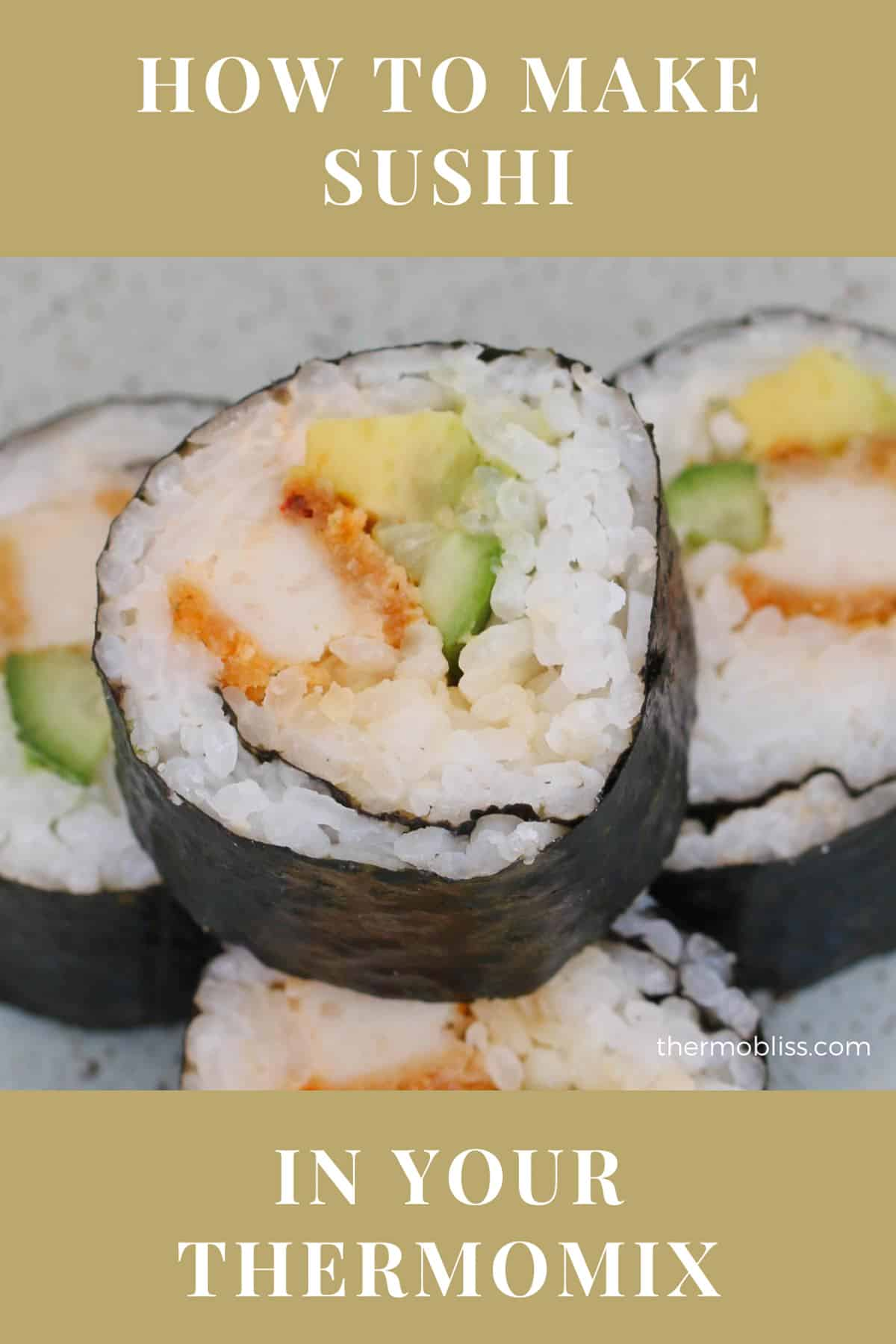 Pieces of sushi made in a Thermomix.