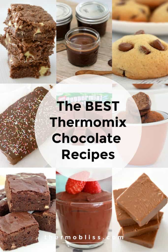 Photos of various chocolate foodie treats and text saying \'The Best Thermomix Chocolate Recipes\'
