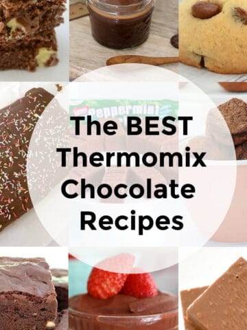 A collage of chocolate foodie treats behind text saying 'The Best Thermomix Chocolate Recipes'