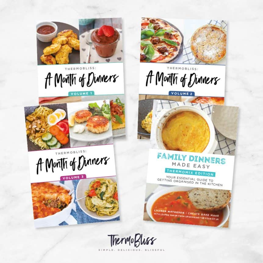 ThermoBliss recipe books 'A Month of Dinners Vol 1 - 3' and 'Family Dinners'