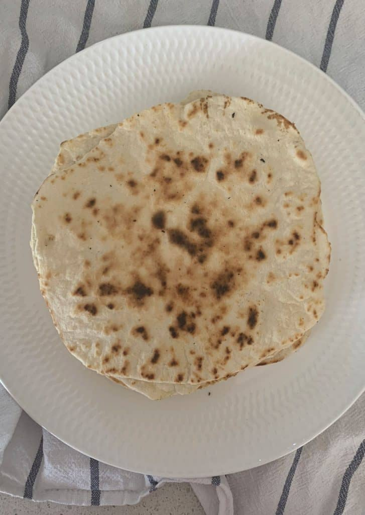 TOp view of a plate with tortillas