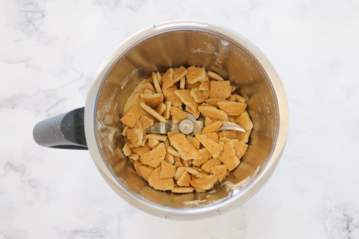 Biscuits being crushed in a Thermomix.