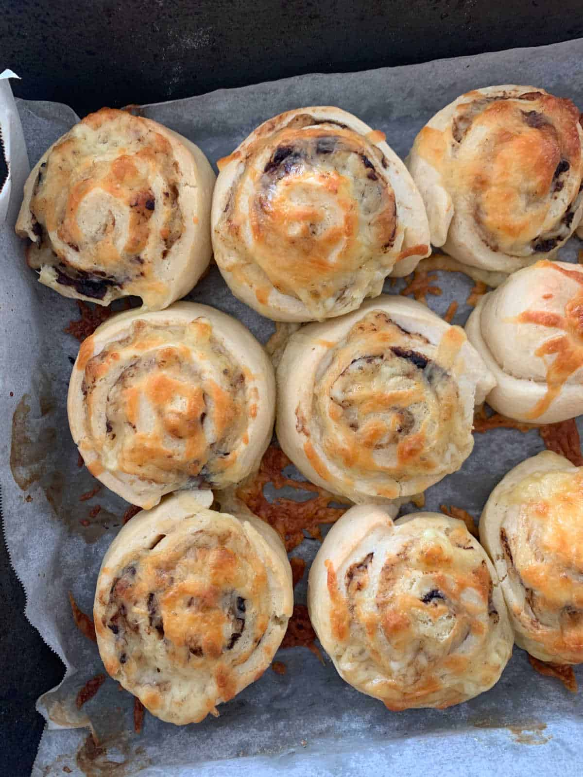 vegemite and cheese scrolls on tray