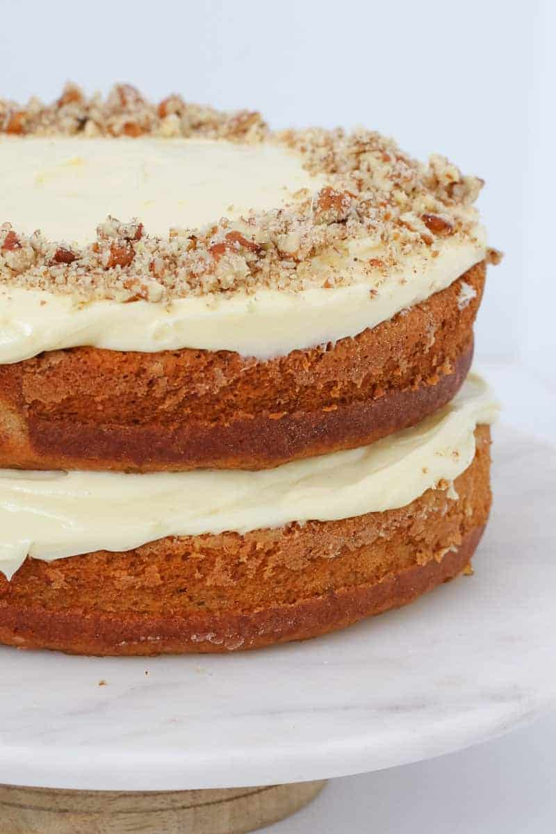 A hummingbird cake with cream cheese frosting.