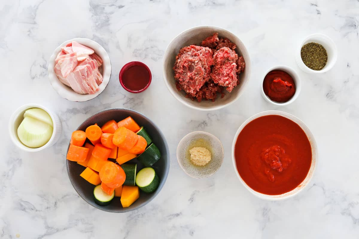The ingredients for vegetable and beef bolognese.