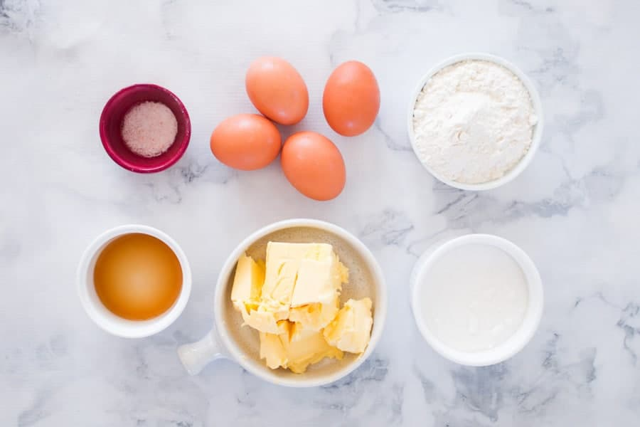 The ingredients for vanilla cupcakes.