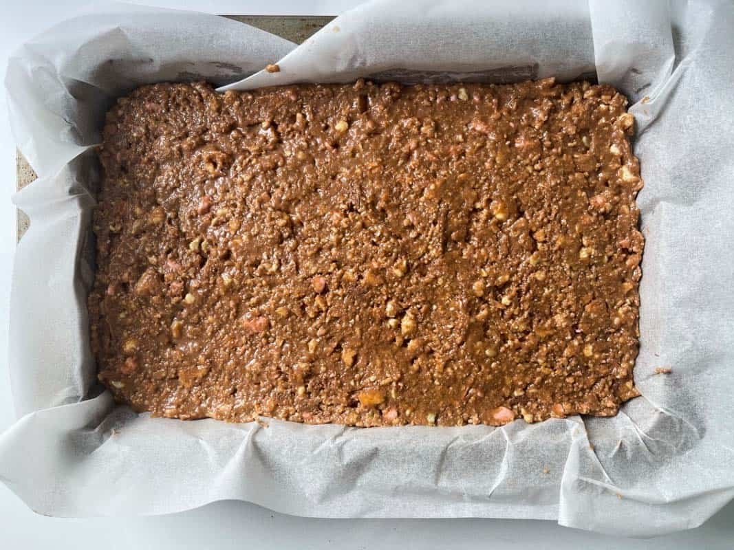 No bake Clinkers Slice in a baking tin.