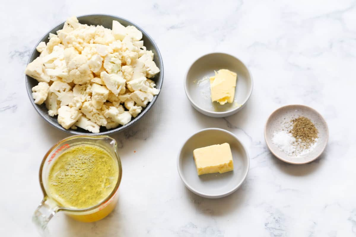 The ingredients for cauliflower soup.
