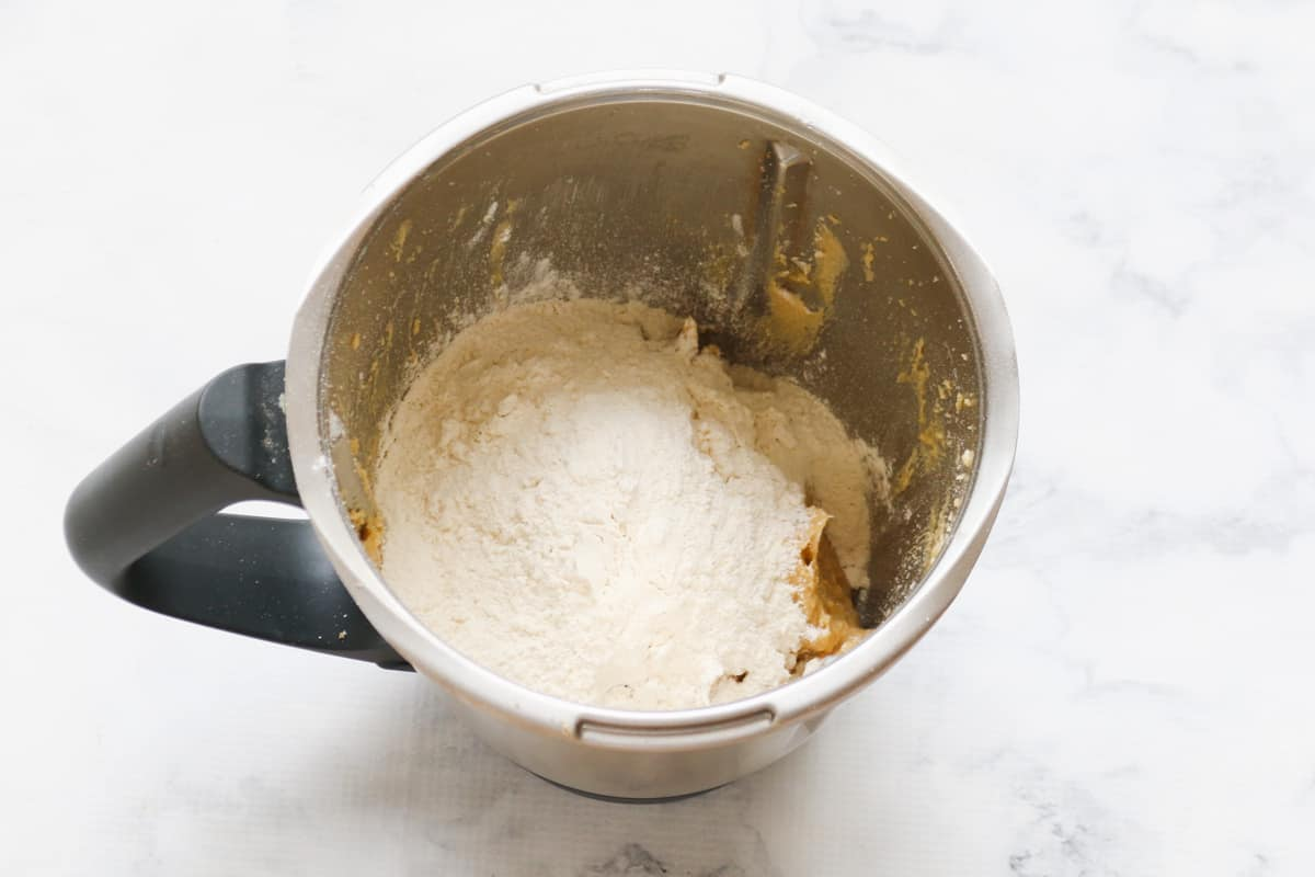 Flour in a stainless jug.