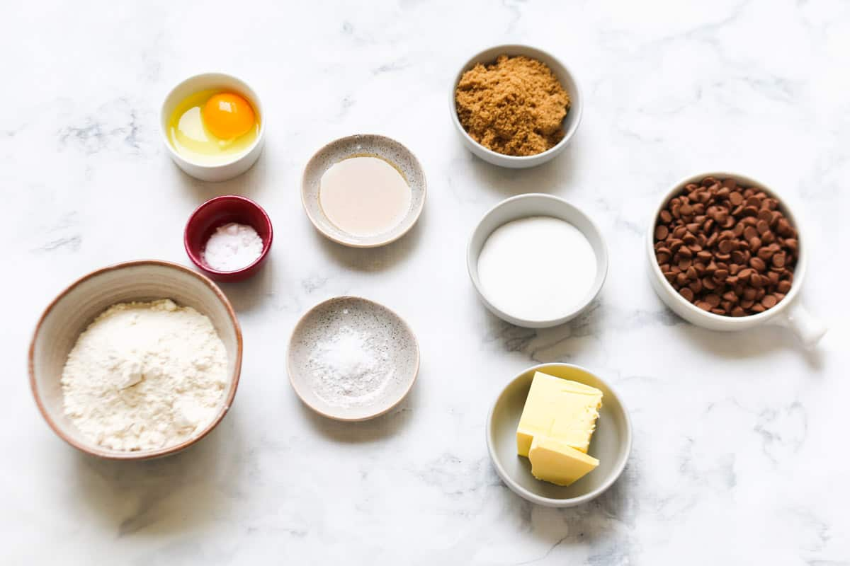 The ingredients for chocolate chip cookies.