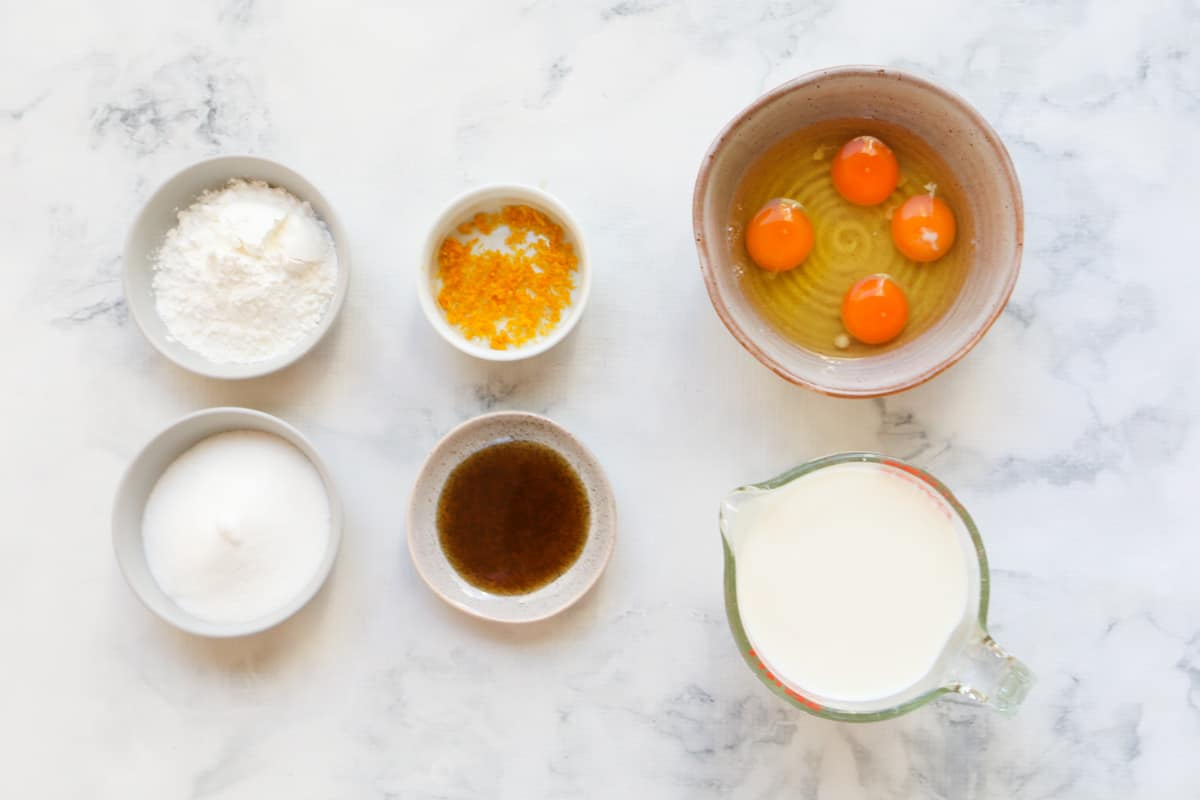 The ingredients for Thermomix vanilla custard.