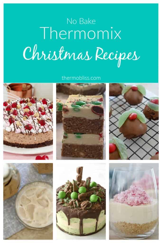 Collage of no bake Thermomix Christmas recipes
