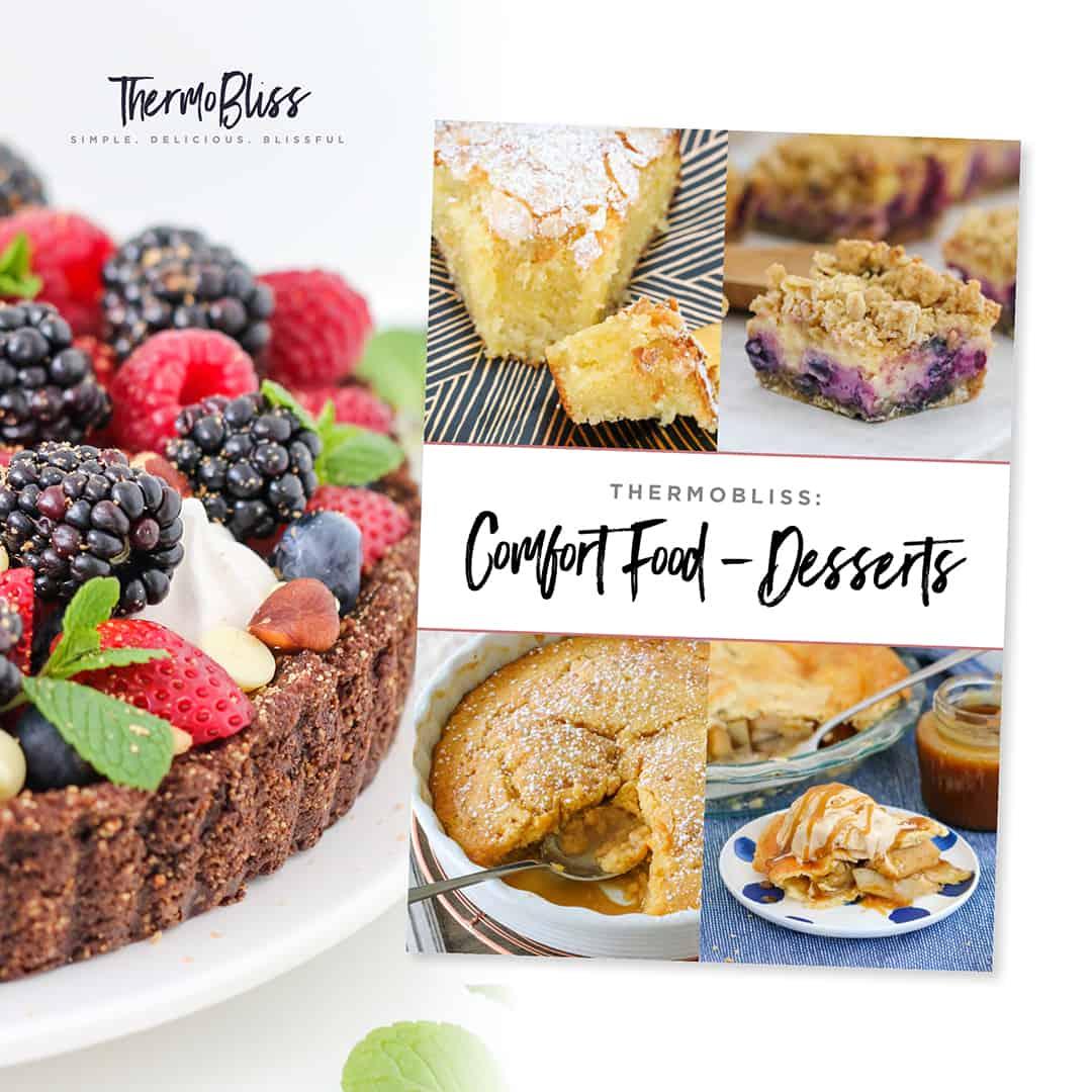 A Thermomix cookbook featuring dessert recipes.